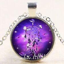 Dream Catcher & Butterflies Glass Dome Pendant Silver Colour Necklace & Chain