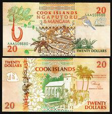 New listing Cook Islands 20 Dollars 1992 Unc 2 Pcs Consecutive Pair Aaa Prefix P-9