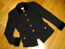 Dana Buchman sz 8 black wool jacket gold buttons velvet collar cuffs