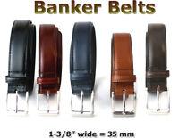 "MEN'S GENUINE FULL GRAIN LEATHER 35 MM = 1-3/8 "" DRESS BANKER BELT FIVE COLORS"