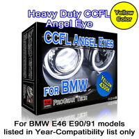 4300K OEM Yellow Heavy Duty BMW CCFL Angel Eyes Halo 131 + 146 mm E46 E90 E91
