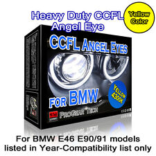 4300K OEM Yellow Heavy Duty BMW CCFL Angel Eyes Halo 131 + 146 mm E46 E90 E91