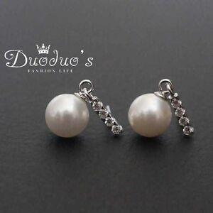 925 Sterling Silver Crystal & 8mm White Pearl Drop Stud Earrings