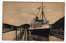 PANAMA PACIFIC LINE PC Postcard SS VIRGINIA Panama Canal Locks SS BRAZIL Ship