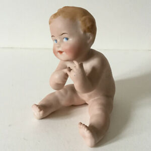 Antique Vintage Bisque Piano Baby Makers Mark A P C/G Crown? 12cm Naked Doll