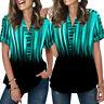 ❤️ Women Gradient Print V Neck T Shirt Casual Loose Short Sleeve Blouse Tops Tee