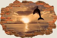 3D Hole in Wall Exotic Dolphin Ocean View Wall Stickers Film Decal Wallpaper S53
