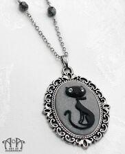 Gothic Black Grey CAT CAMEO PENDANT NECKLACE Antique Silver Gunmetal Pendant D43