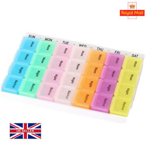Large Weekly Daily Pill Storage Box Organiser Tablet Medicine Dispenser 7 Day UK