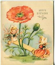 VINTAGE DUTCH COSTUME GIRLS WEE FOLKS SEESAW PEACH ANEMONE FLOWER GREETING CARD