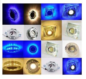 LED Einbaustrahler GU10 Rahmen Eckig Rund Einbauspot Glas Einbauspot Blau Warm