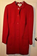 JOSEPH RIBKOFF Red Quilted Style Long Coat, Size 8, Fast Free U.S. Shipper