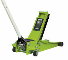 Trolley jack 2 tonne low entry twin piston rocket lift hi vis vert heavy duty