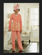 3 Piece Peach Sorbet Pant Suit church wedding party cruise  Ashro