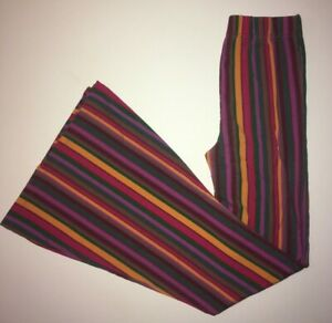 FREE PEOPLE Funky Retro Rainbow Striped Flare Pants Stretch Pull On X Small XS