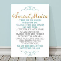 Gold and Blue No Wedding Photos on Social Media Poem Sign 3 FOR 2 GB3