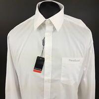 Pierre Cardin Mens Formal Shirt MEDIUM Long Sleeve White Regular Fit Cotton