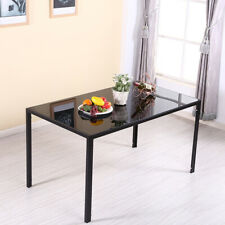 Black Dining Table Glass Metal Leg Rectangle Dining Room Kitchen Home Furniture