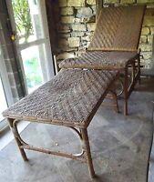 Ancienne Fauteuil Chaise Longue Rotin Osier Bois 1970 Vintage