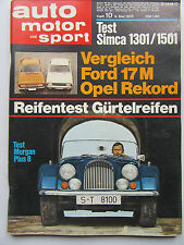 Auto Motor Sport 10/1970, Ford 17 M, Opel Rekord, Morgan Plus 8, Simca 1301/1501