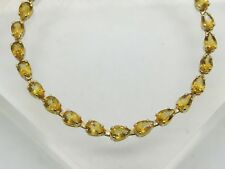 BENT 14k Yellow Gold Pear Cut Yellow/Orange Citrine Gemstone Link Bracelet 7.25""