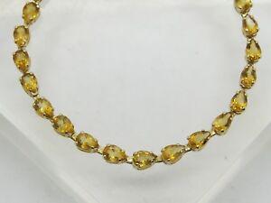 "BENT 14k Yellow Gold Pear Cut Yellow/Orange Citrine Gemstone Link Bracelet 7.25"""