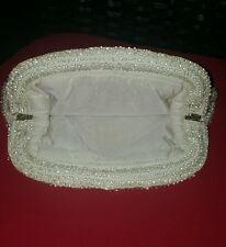 Vintage Lucite Purse Clutch Clear Beads