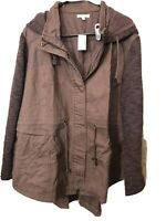 Maurices Brown Lightweight Twill Hooded Jacket Knit Sleeves Plus Size 3X NWT!