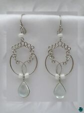Earrings murano glass saya white silver of alpaca peruvian crafts