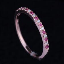 10K Rose Gold Ladies White Diamond & Rubies Wedding Band Women Engagement Ring