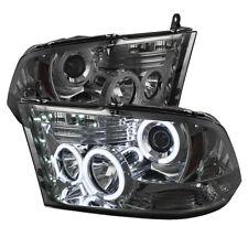 Fit Dodge 09-16 Ram Smoke CCFL Dual Halo LED Projector Headlights Head Lamp