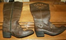 BORN LEATHER KNEE BOOTS WOMENS SIZE 10 BROWN FREE SHIPPING