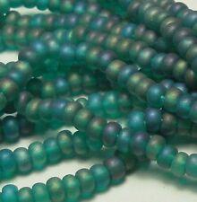 Emerald Matte Ab Czech 6/0 Seed Bead on Loose Strung 6 String Hank