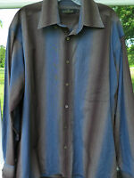 Bugatchi Uomo Men Long Sleeve 100% Imported Cotton Brown Blue Casual Shirt Large