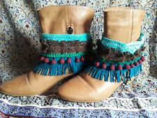 Boho Vintage Style Fringe Lace Boot Cuffs Toppers Peasant hippy festival