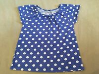 Mini Boden Top 11-12 Years Girls Blue Polka Dot Short Sleeve