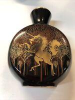"""Vintage Otagiri Unicorn Small Vase Gold Brown Black Jar Japan 4.25"""" tall"""
