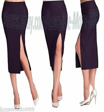Womens Plain High Waisted Pencil Wiggle Sheath SLIM Long Midi Skirt Dress SMALL