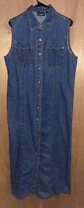 Vintage Bill Blass Jeans Denim Dress Jumper Sleeveless Button Front Size Large