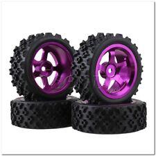 4 x RC 1:10 On Road Car Purple Alloy 5 Spoke Wheel Rim + Flower Rubber Tyre