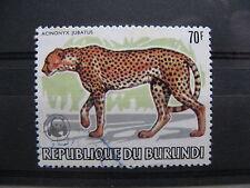 BURUNDI, used  overprinted stamp 1983, WWF Acinonyx jubatus Cheetah, big cat