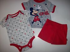 Mickey Mouse Bodysuit Shirt Shorts 3pc Set Baby Boys 0-3 Mos the One and Only