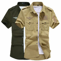 Mens Military Short Sleeves Shirts Air Force Army Cotton Multicolor Camisas Tops