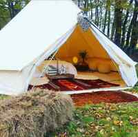Family Camping Bell Tent 4M Yurt Cotton Canvas Glamping Waterproof 4 Season Tipi