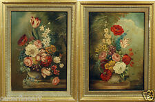 Decorative Pair of European 18th Century Floral Oil Paintings