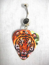 NEW JUNGLE BIG CAT TIGER PHOTO PRINTED GUITAR PICK BLACK CZ BELLY BAR NAVEL RING