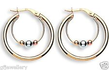 9CT HALLMARKED YELLOW, WHITE& ROSE GOLD POLISHED CRADLED BEAD 23MM HOOP EARRINGS