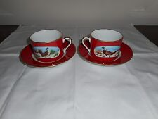 New Set of Two  Lynn Chase Winter Game Birds Cups & Saucers In Red w 24 K Gold