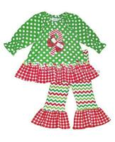New Girls Boutique Peaches n Cream 6 Green CANDY CANE outfit Christmas Clothes
