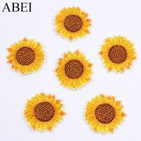 10pcs Embroidered Sunflower Sticker Iron On Sew On Clothes Patch DIY Jeans Cloth